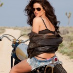 Biker-Girl-of-the-Week-Wearing-Brown-Leather-Jacket-Aviator-Sunglasses-and-Denim-Shorts
